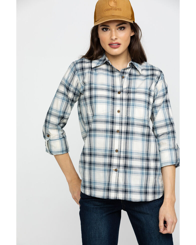 Carhartt Women's Blue Fairview Plaid Long Sleeve Shirt , Blue, hi-res
