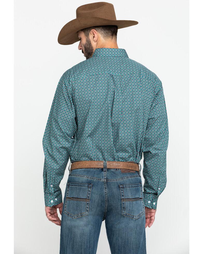 Cinch Men's Green Small Geo Print Long Sleeve Western Shirt , Green, hi-res