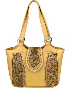 Montana West Trinity Ranch Genuine Floral Tooled Handbag , Tan, hi-res