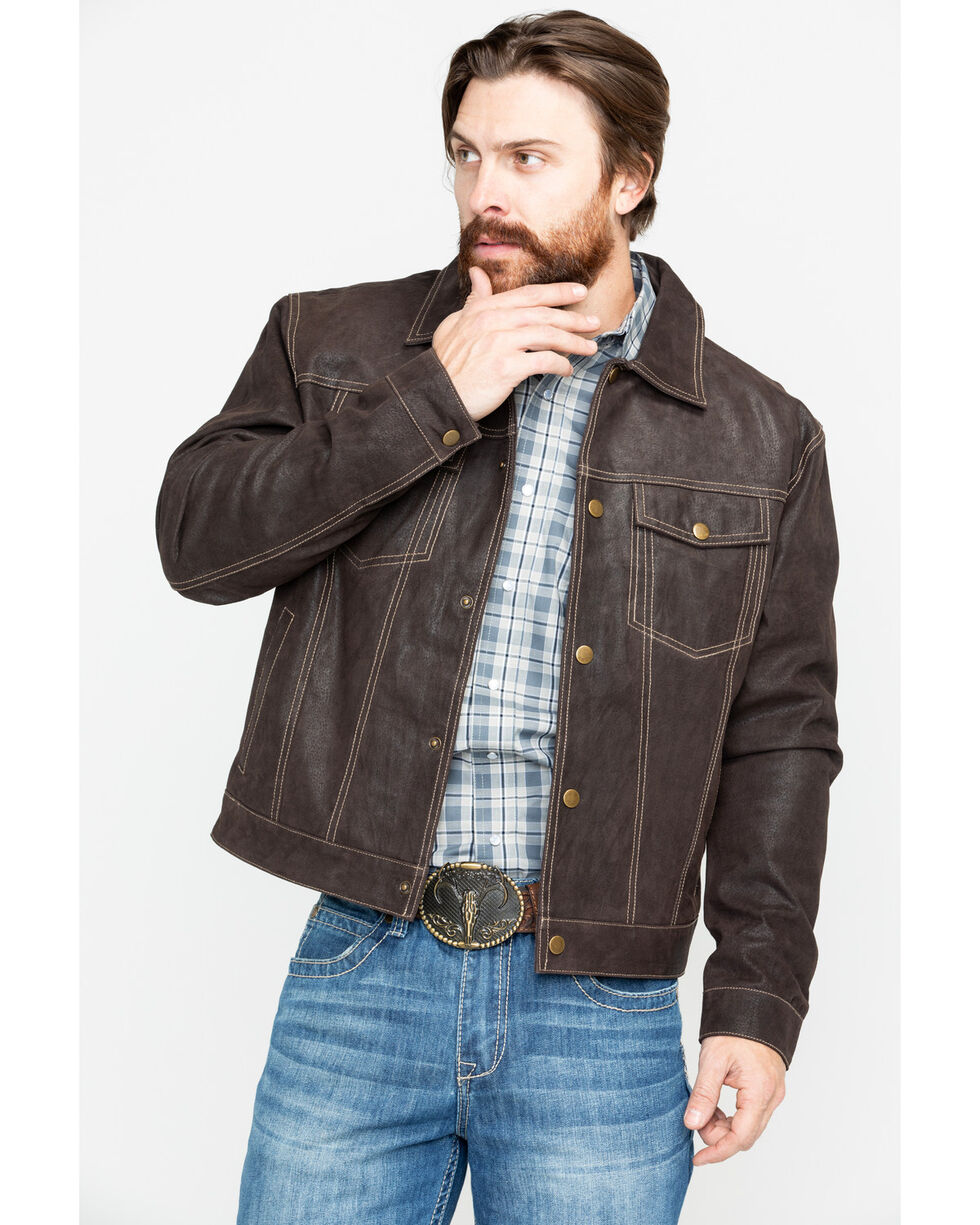 Scully Men's Suede Snap Front Western Jacket , Brown, hi-res