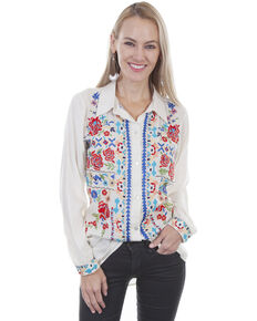 067b6080f57821 Honey Creek by Scully Women s Embroidered Button Down Long Sleeve Top