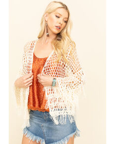 Pol Women's Open Weave Fringe Cardigan, Natural, hi-res