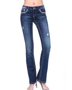 Grace in LA Women's Dark Border Stitch Bootcut Jeans , Blue, hi-res