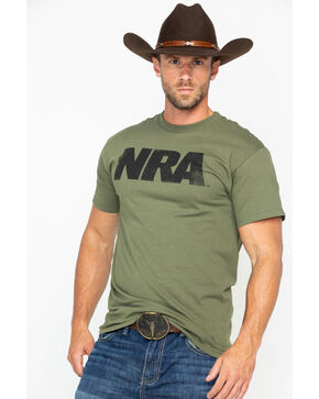NRA Men's Solid Heavy Distressed Logo T-Shirt , Olive, hi-res