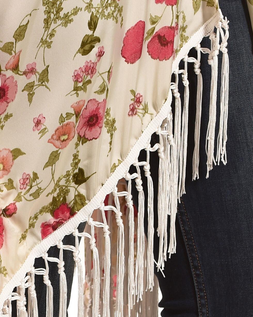 Ivory Love Women's Floral Fringe Kimono, Ivory, hi-res