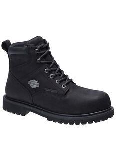 Harley Davidson Men's Gavern Black Waterproof Work Boots - Composite Toe, Black, hi-res