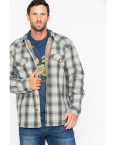 Cody James Men's Plaid Long Sleeve Ojai Bonded Flannel Shirt Jacket, Tan, hi-res