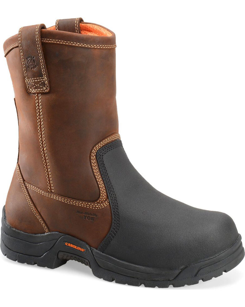 "Carolina Men's 10"" CT Metguard Wellington Work Boots, Dark Brown, hi-res"