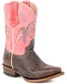 Roper Girls' Little Dreams Western Boots - Snip Toe, Brown, hi-res