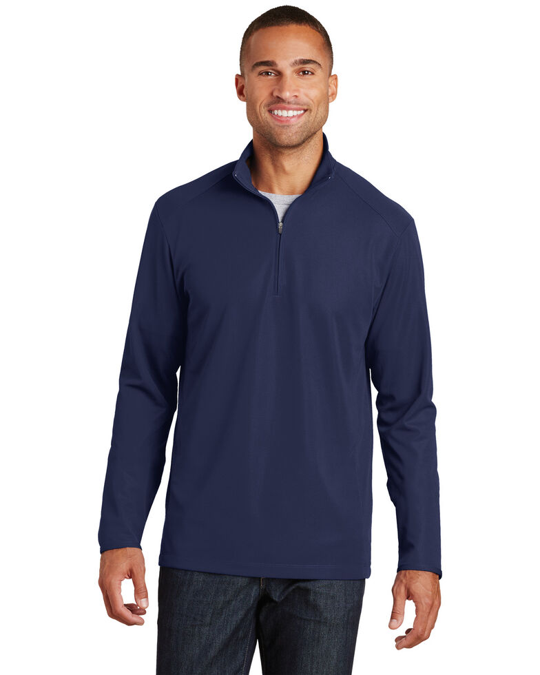 Port Authority Men's True Navy 2X Pinpoint Mesh 1/2 Zip - Big & Tall, Navy, hi-res