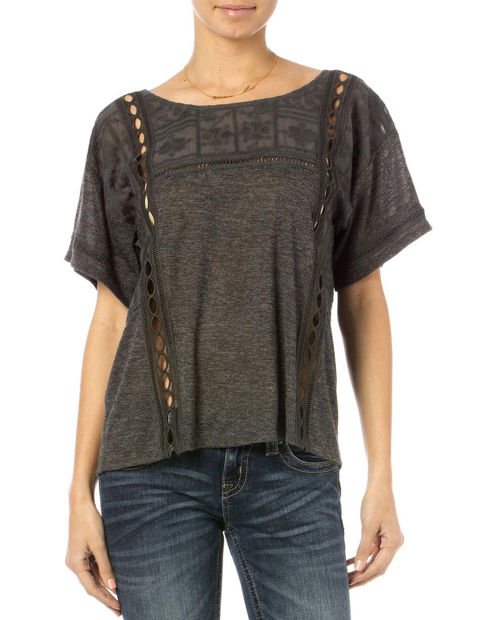 Miss Me Women's Breezeway Short Sleeve Top, Charcoal Grey, hi-res