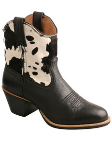 Twisted X Women's Black Cowhide Western Booties - Round Toe, Black/white, hi-res