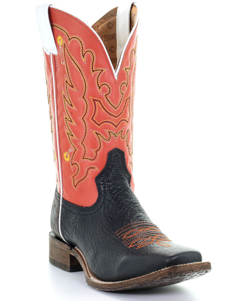 Corral Men's Orange Embroidery Western Boots - Square Toe, Black/orange, hi-res