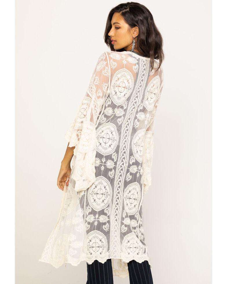 Polagram Women's Natural Crochet Mesh Duster Kimono, Natural, hi-res