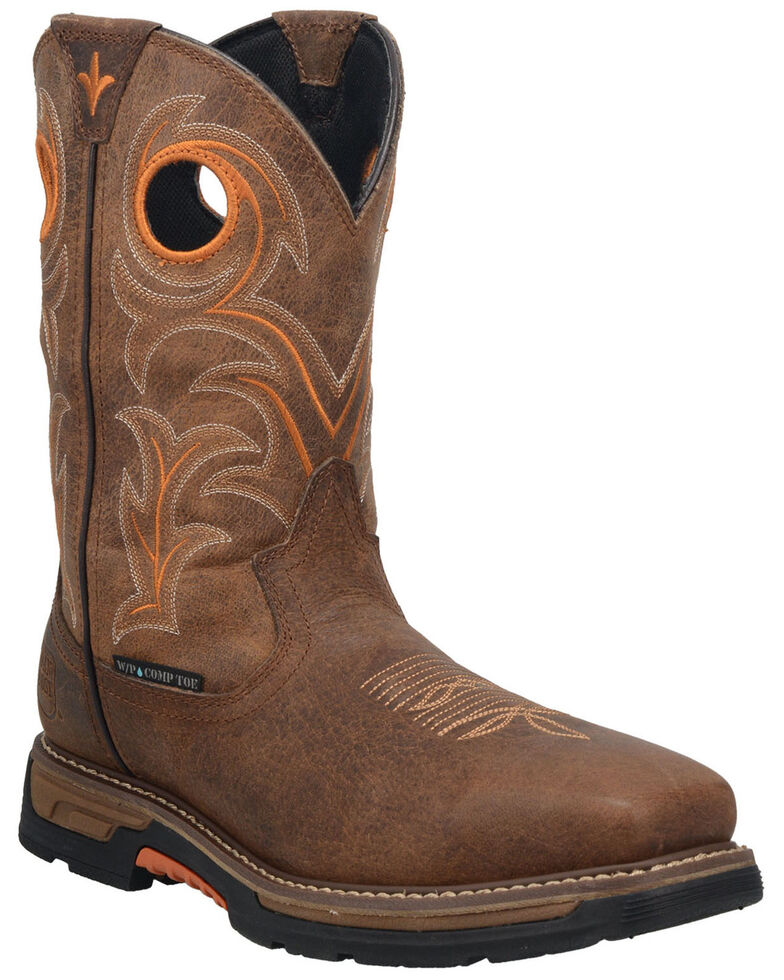 Dan Post Men's Storms Eye Waterproof Western Work Boots - Broad Square Toe, Brown, hi-res