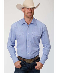 Roper Amarillo Men's Perwinkle Mini Check Plaid Long Sleeve Western Shirt , Blue, hi-res