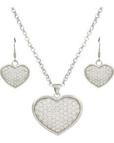 Montana Silversmiths Star Lights Heart Jewelry Set, Silver, hi-res