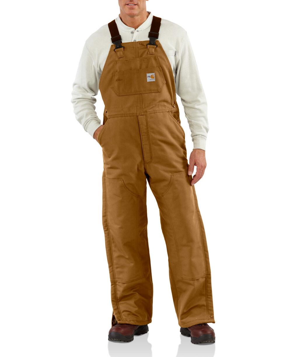 Carhartt Men's Flame-Resistant Duck Quilt-Lined Bib Overalls - Big & Tall, Carhartt Brown, hi-res