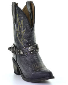 Corral Women's Studded Harness & Concho Western Boots - Round Toe, Black, hi-res