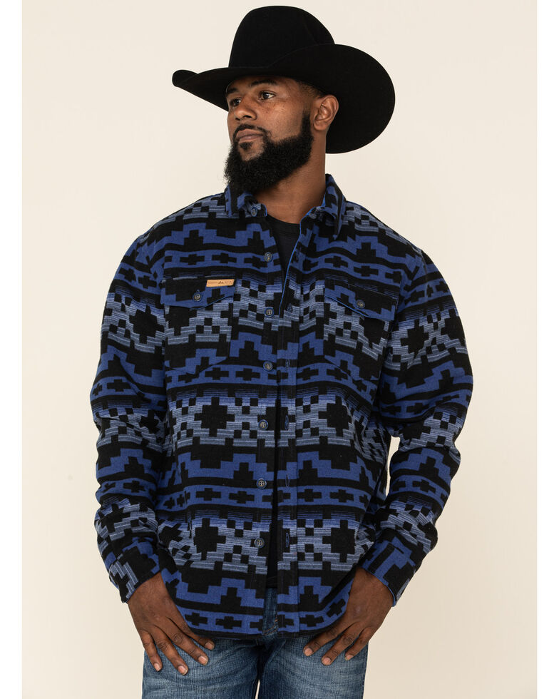 Powder River Outfitters Men's Navy Aztec Print Jacquard Shirt Jacket , Navy, hi-res