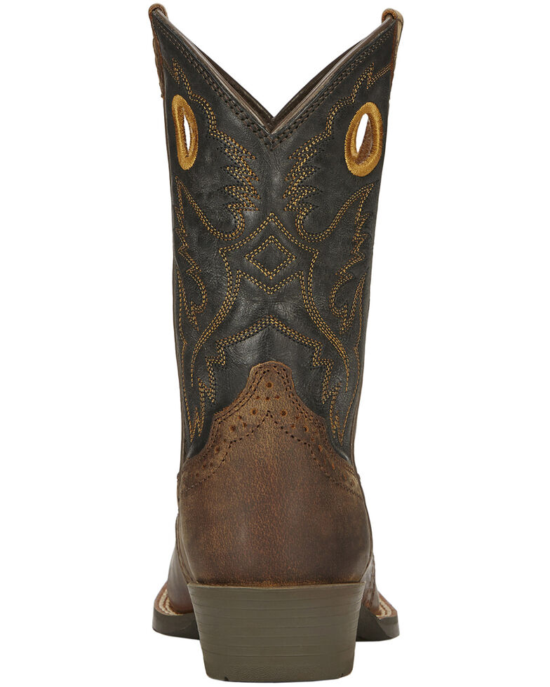 Ariat Boys' Roughstock Cowboy Boots - Square Toe, Brown, hi-res