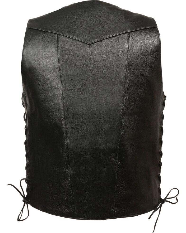 Milwaukee Leather Men's 10 Pocket Side Lace Vest, Black, hi-res