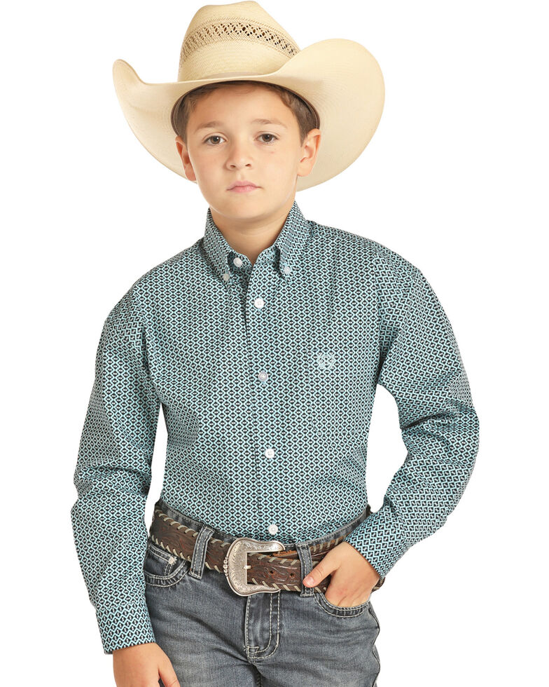 Panhandle Select Boys' Turquoise Diamond Geo Print Long Sleeve Western Shirt , Turquoise, hi-res