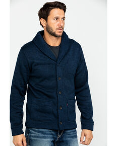 Levis Men's Solid Fleece Button Front Sweater, Navy, hi-res