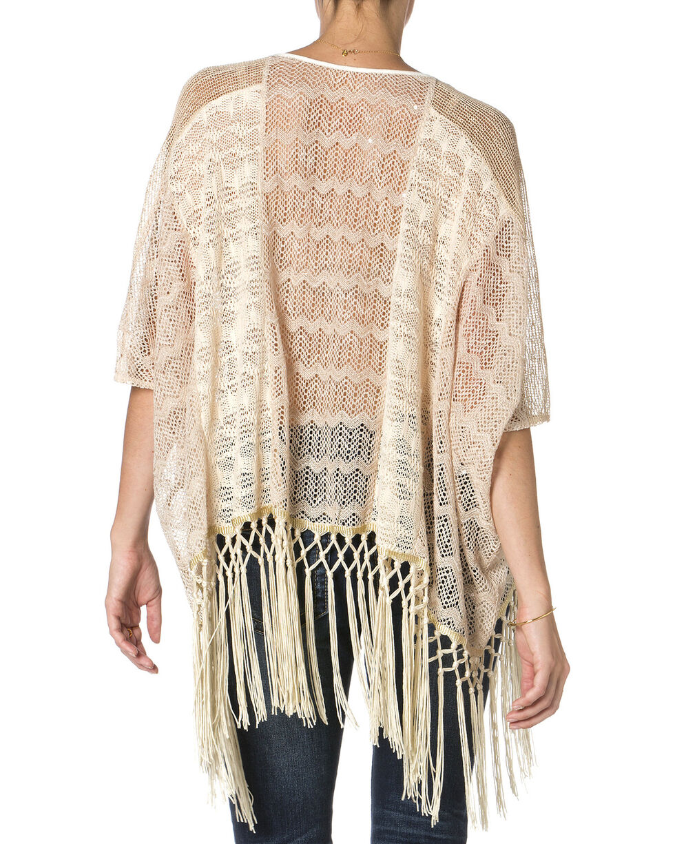 Miss Me Cream Fringe Lace Top , Cream, hi-res