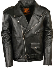Milwaukee Leather Men's Black Classic Police Style M/C Jacket - Big 4X , Black, hi-res