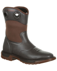 Rocky Men's Waterproof Original Ride FLX Western Work Boots - Square Toe, Dark Brown, hi-res