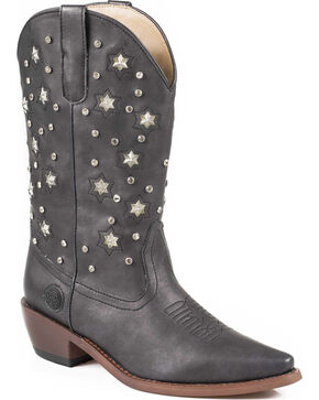 Roper Women's Light Up Studded Western Boots, Black, hi-res