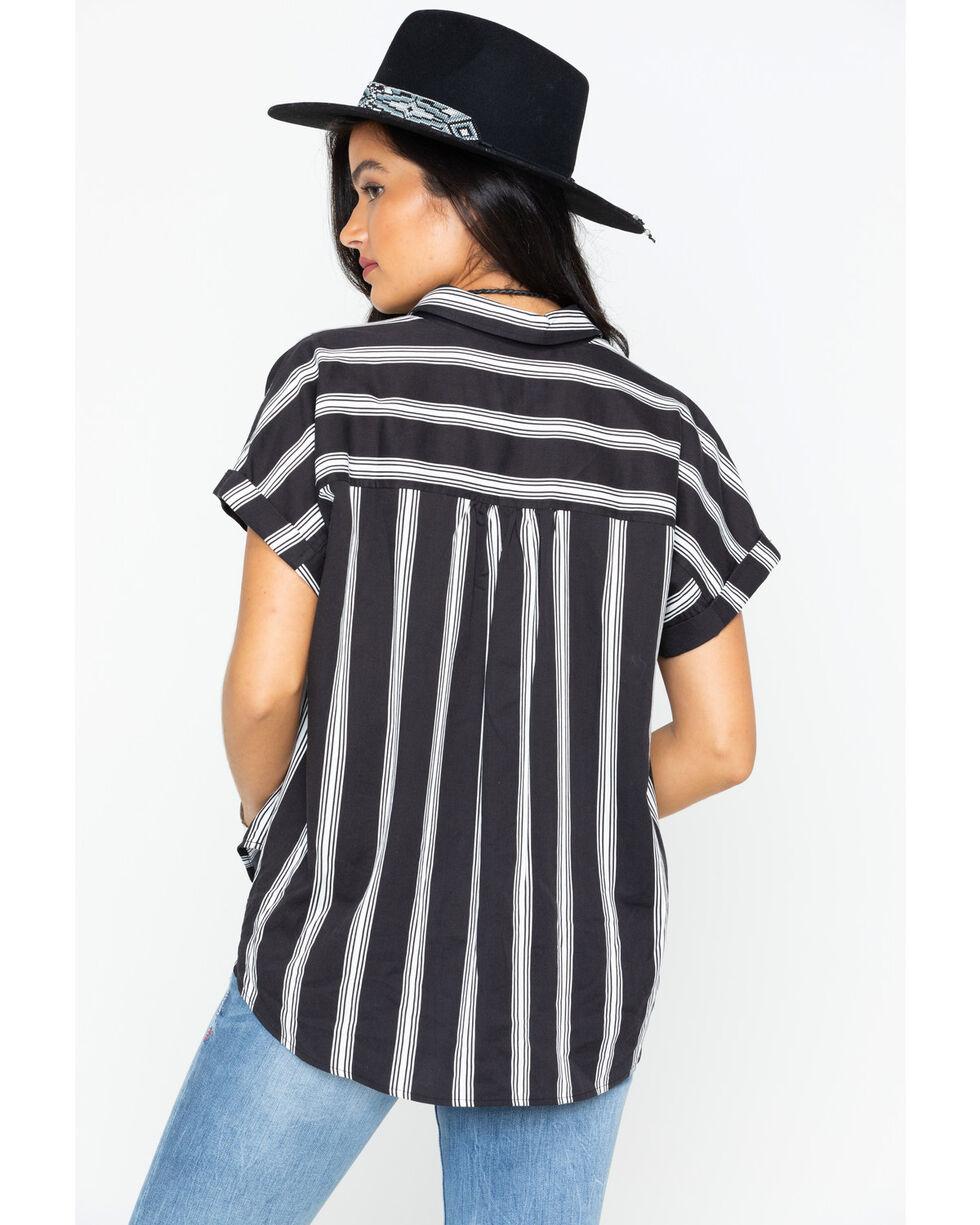 Shyanne Women's Striped Button Down Short Sleeve Top, Black/white, hi-res