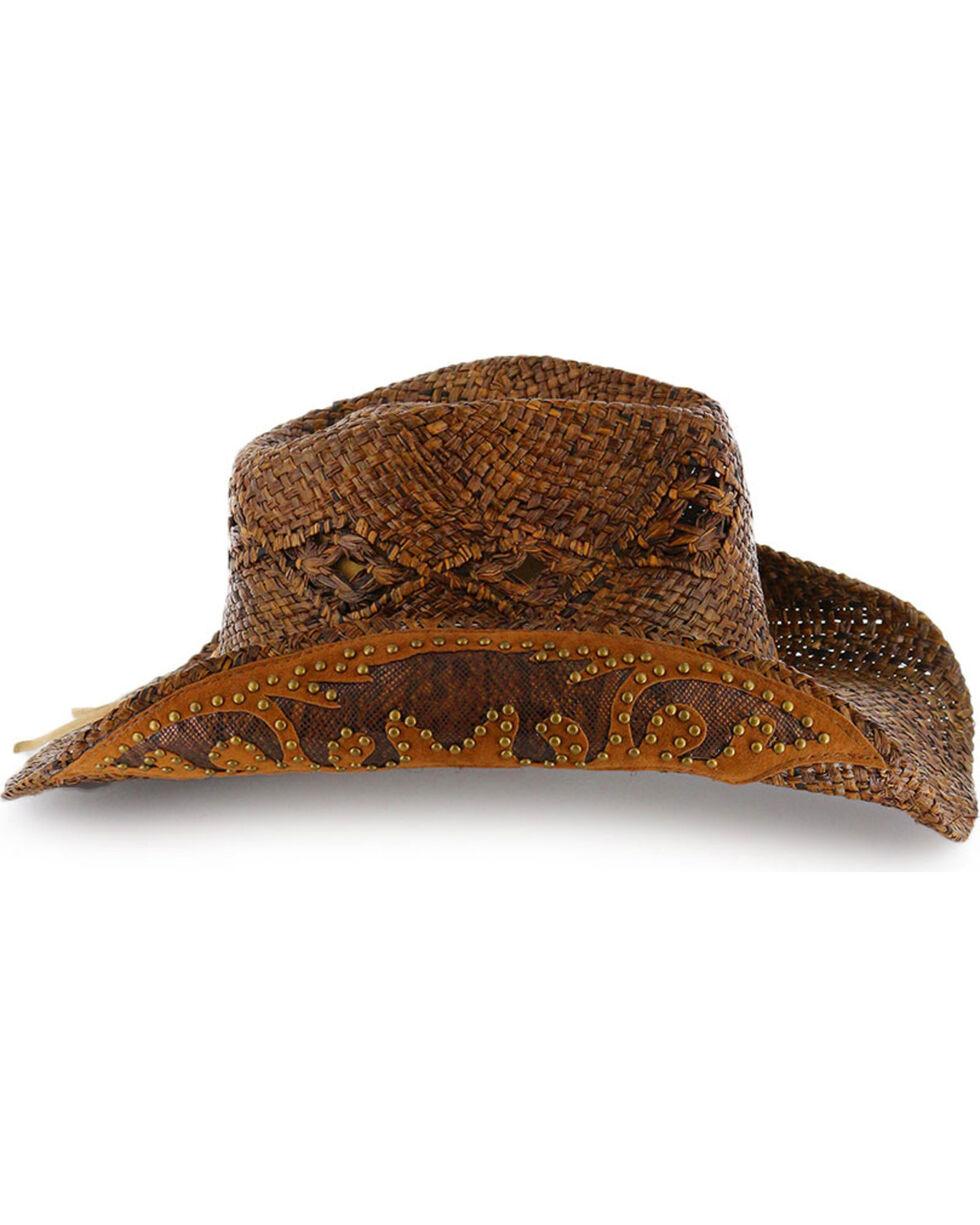 Shyanne® Women's Embellished Brim Straw Hat, Brown, hi-res