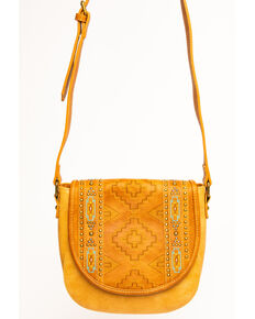 Montana West Women's Aztec Tooled Crossbody Bag, Brown, hi-res