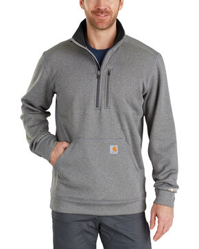 Carhartt Men's Force Extremes Mock-Neck Half-Zip Sweatshirt , Medium Grey, hi-res