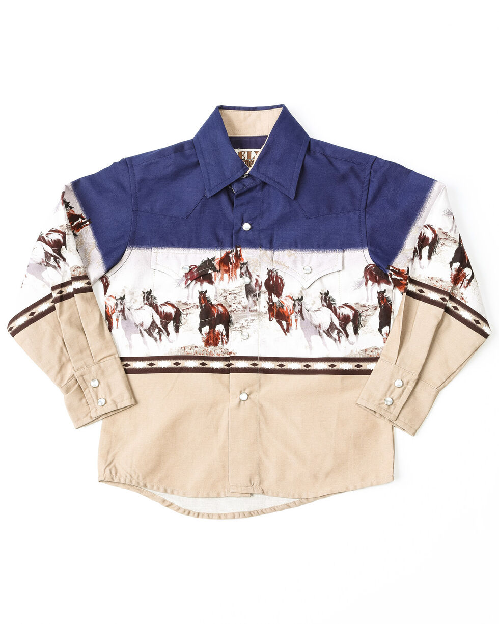 Ely Cattleman Boys' Running Horse Border Print Long Sleeve Shirt , Navy, hi-res