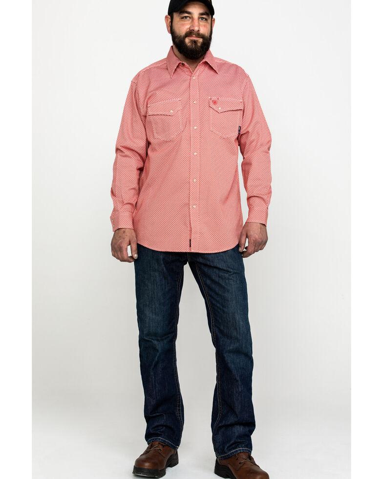 Ariat Men's FR Olmeca Geo Print Snap Long Sleeve Work Shirt , Bark, hi-res