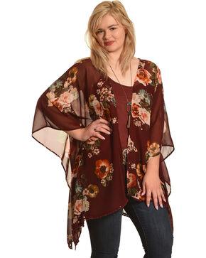 Ivory Love Women's Burgundy Floral Kimono , Burgundy, hi-res