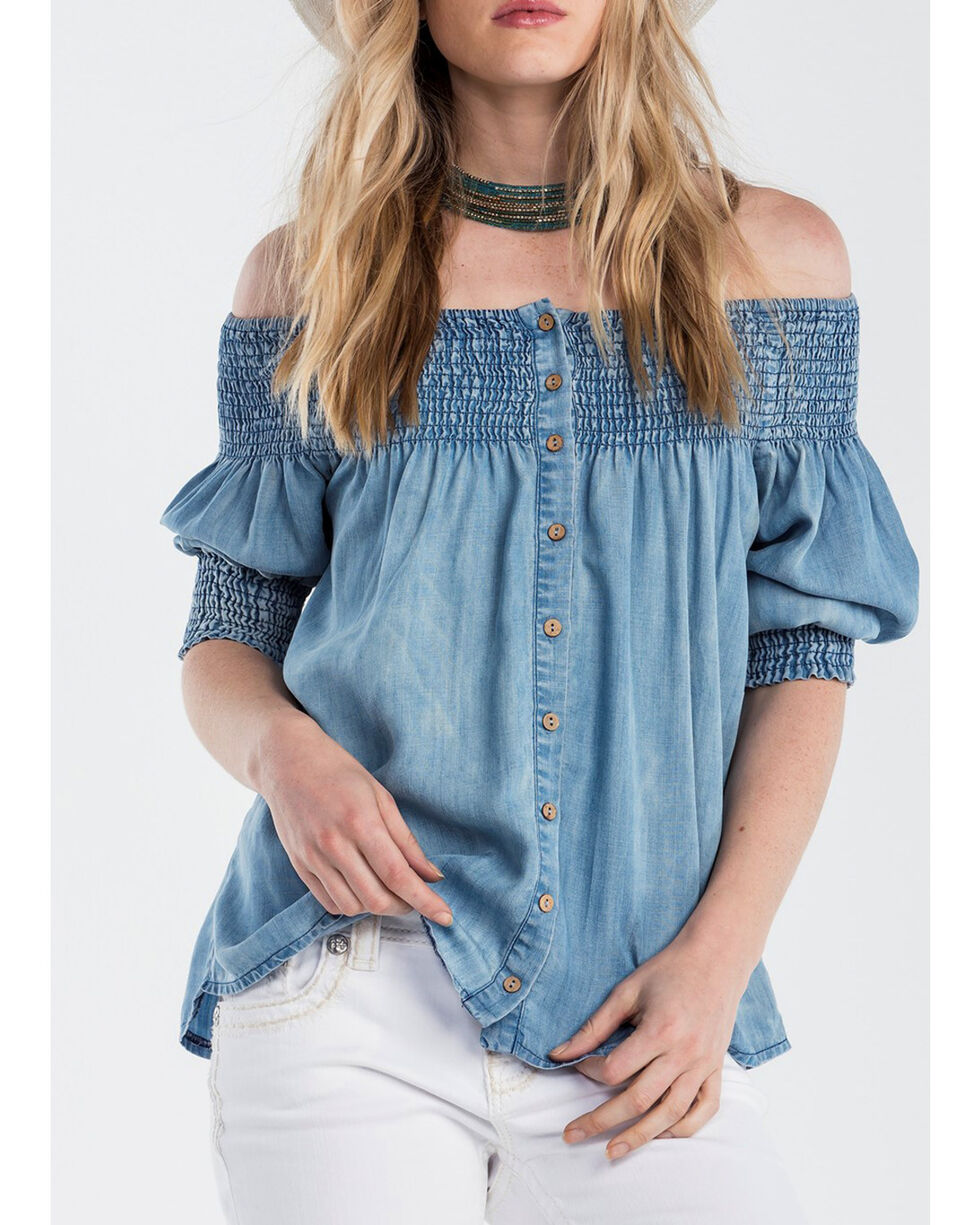 Miss Me Women's Just Slaying Off The Shoulder Top, Indigo, hi-res