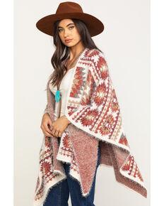 Shyanne Women's Multi Aztec Eyelash Knit Cape Shawl, Multi, hi-res