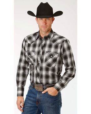Roper Men's Black Plaid Long Sleeve Western Snap Shirt, Black, hi-res
