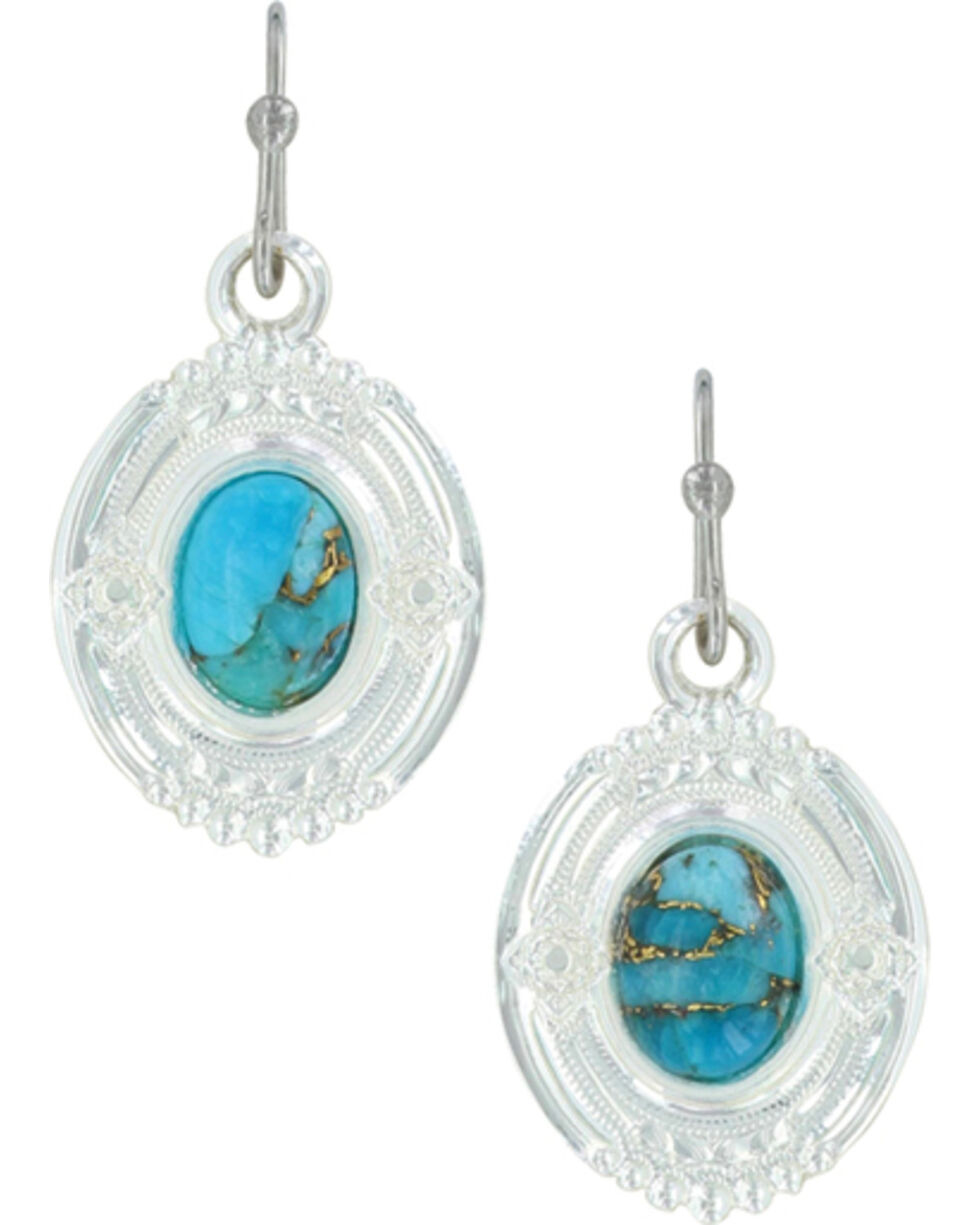 Montana Silversmiths Women's Glacier Pools Of Turquoise Earrings , Silver, hi-res
