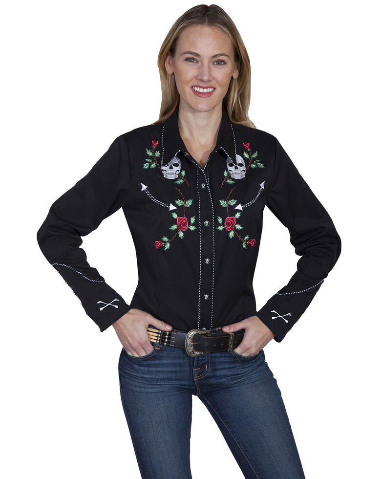 Scully Women's Skulls and Roses Retro Western Shirt, Black, hi-res