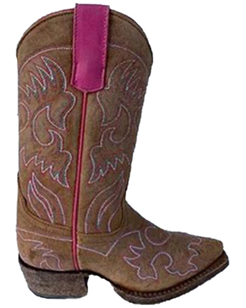 Macie Bean Girls' Heart Honey Western Boots - Snip Toe, Honey, hi-res