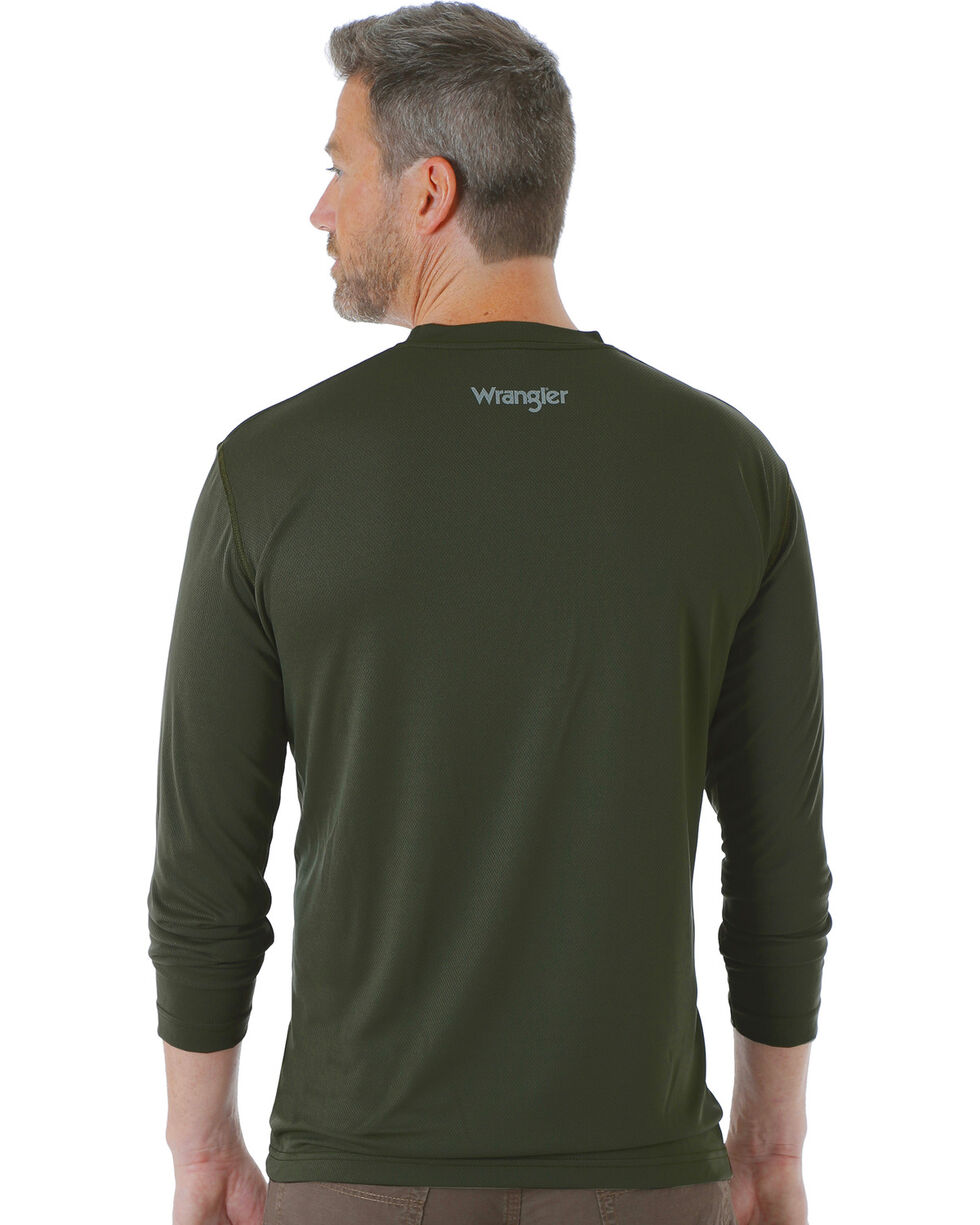 Wrangler Men's Green Riggs Crew Performance Long Sleeve T-Shirt - Big & Tall, Green, hi-res