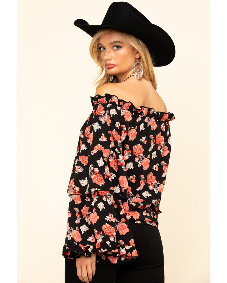 White Label by Panhandle Women's Black Floral Bell Sleeve Top , Black, hi-res