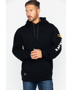 Hawx® Men's Logo Sleeve Hooded Work Sweatshirt , Black, hi-res