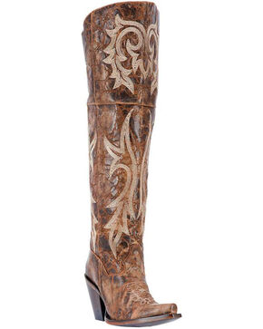 Dan Post Women's Jilted Knee High Western Boots, Chestnut, hi-res