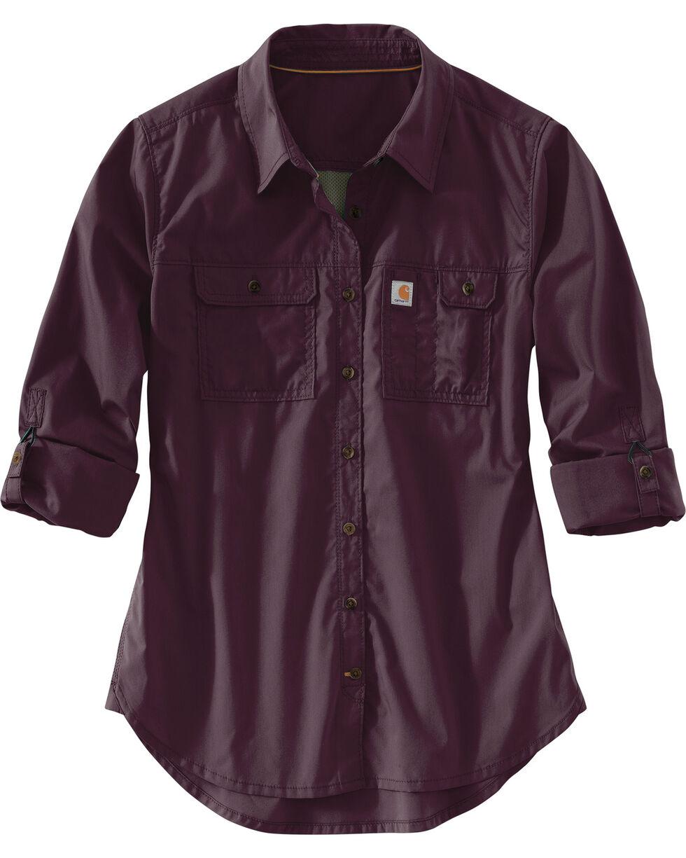 Carhartt Women's Force Ridgefield Shirt , Wine, hi-res